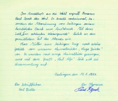 Ausklank der Gründungsversammlung im Orginal aus dem Protokollbuch vom 14. Januar 1956